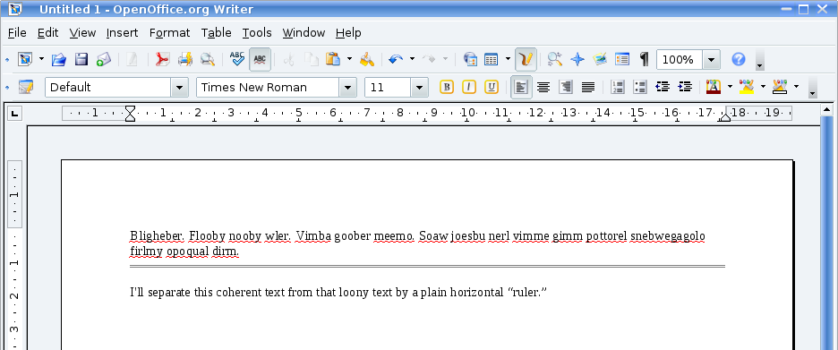 "Screenshot of ""plain horizontal ruler"" in Openoffice.org writer"