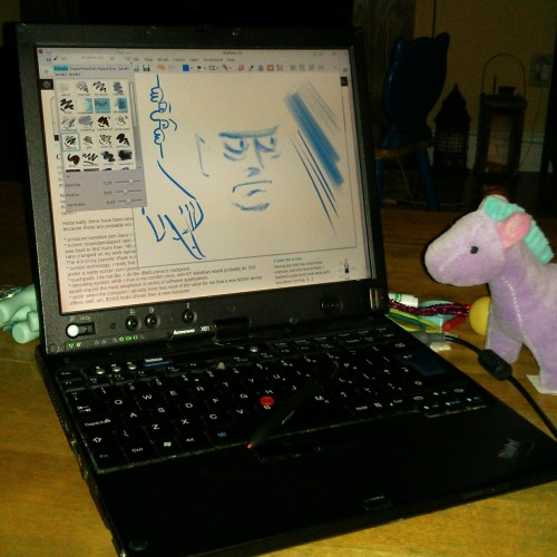 Lenovo X61T and purple horse