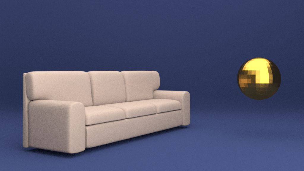 A floating couch and a gold sphere, made in Blender3D